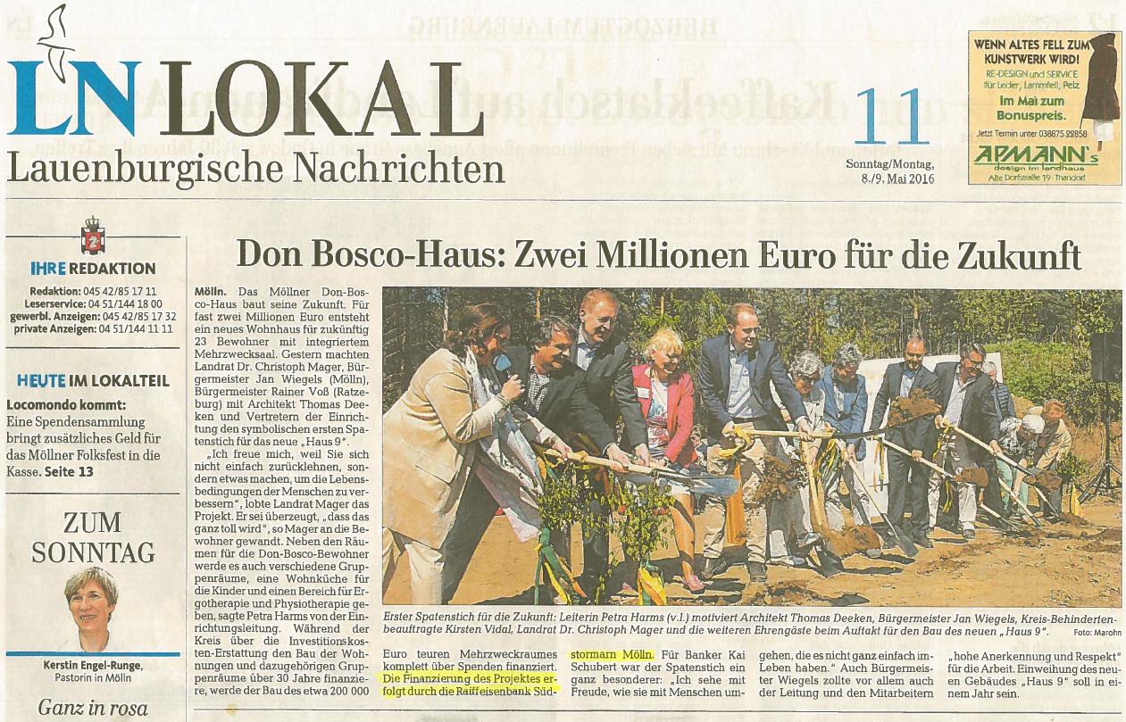 Finanzierung Don Bosco Haus Molln Raiffeisenbank Sudstormarn Molln